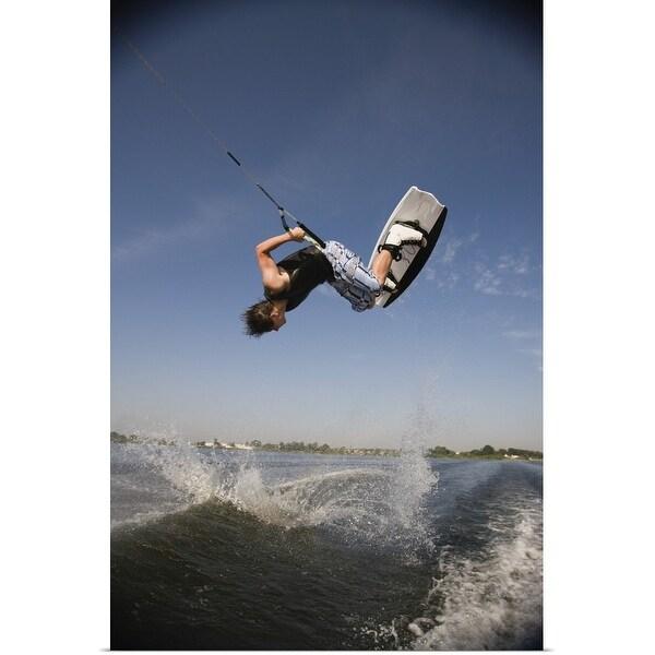 """Midair wakeboarder"" Poster Print"