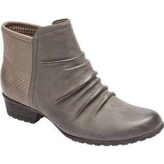 Rockport Women's Cobb Hill Gratasha Panel Ankle Boot Dark Grey Nubuck