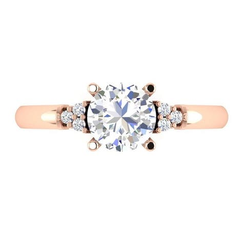 1.15 CT Cluster Round Cut Diamond Promise Engagement Ring in 14KT