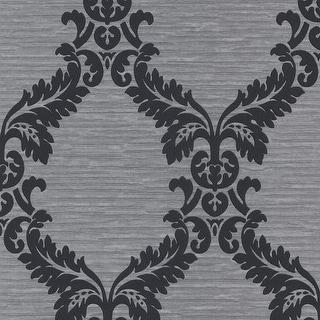 Brewster 295-66511 Siri Silver Damask Crepe Wallpaper