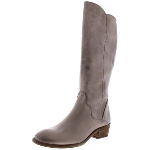 Frye Womens Carson Piping Tall Riding Boots Leather Knee High - Graphite Extended