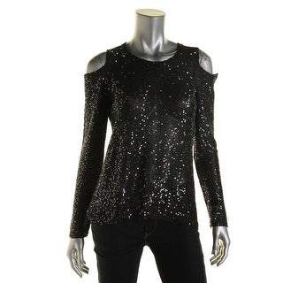 DKNYC Womens Sequined Cold Shoulder Pullover Sweater