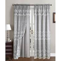 Aliya Embroidered Panel With Attached Valance And Backing, 55x84 Inches - N/A