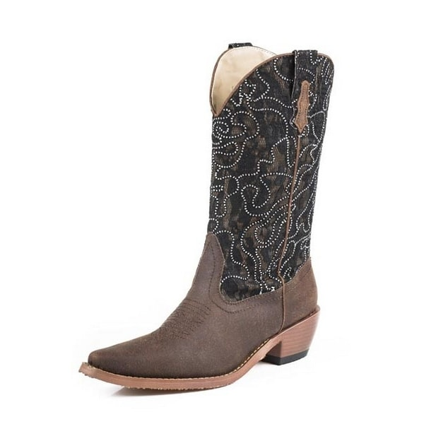 Roper Western Boots Women Crystal Lace Bling Brown 09-021-1553-0834 BR