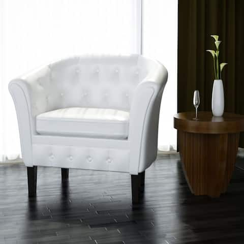 vidaXL Tub Chair with Footrest White Faux Leather