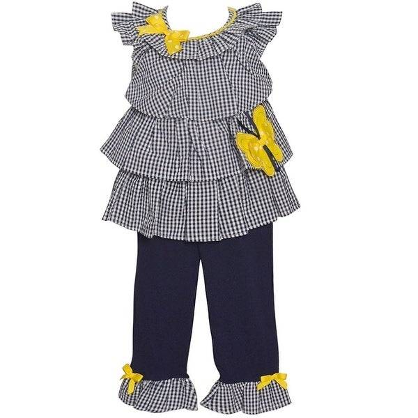 Rare Editions Baby Girls Navy Checkered Butterfly Accent 2 Pc Pant Set