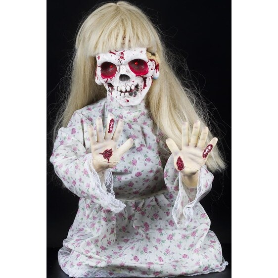 Halloween Horror Scary Kneeling Geist Girl Ghost Animatronic Prop