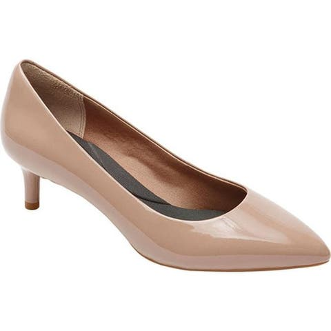 Rockport Women's Total Motion Kalila Pump Dark Warm Taupe Soft Patent Leather