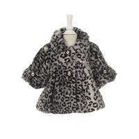 Little Girls Black White Leopard Pattern Faux Fur Winter Swing Coat 2-6