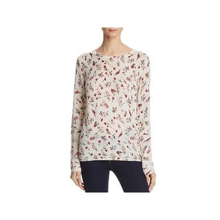 Joie Womens Feronia Pullover Sweater Cashmere Floral Print
