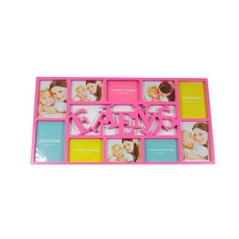"28.75"" Pink Dual-Sized ""Friends"" Photo Picture Frame Collage Wall Decoration"
