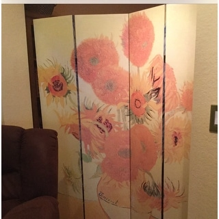 Handmade Wood and Canvas 6-foot Double-sided Van Gogh Room Divider (China)