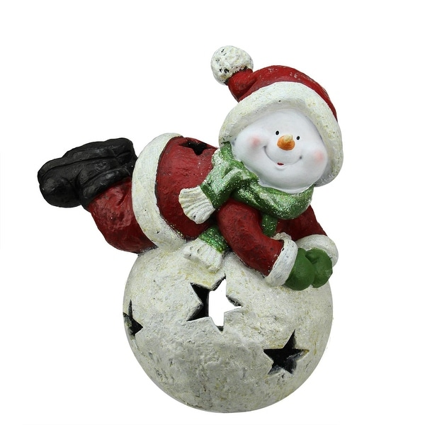 "15"" Red and Green Snowman and Snowball Christmas Tea Light Candle Holder"