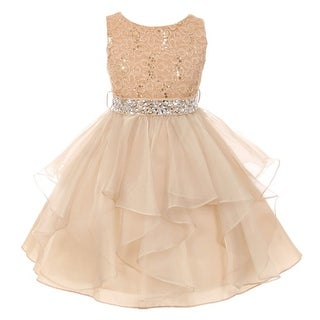 Little Girls Gold Stretch Lace Crystal Tulle Ruffle Flower Girl Dress