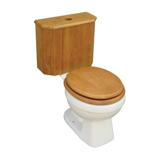 Round Toilet with Light Oak Wooden Tank and Bone Bowl Renovator's Supply