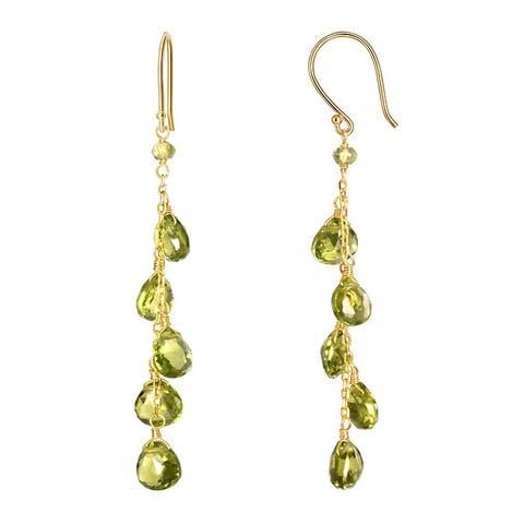 14K Peridot Drop Hook Earring