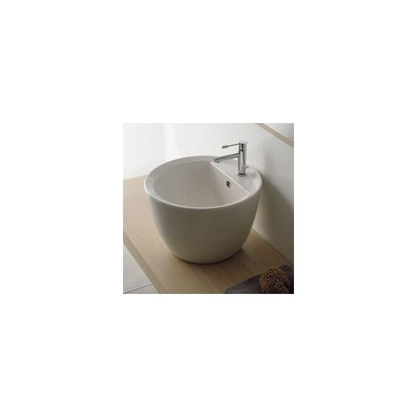"Nameeks 8055/R Scarabeo 18-1/8"" Ceramic Vessel Bathroom Sink with 1 Hole Drilled - White / One Hole"