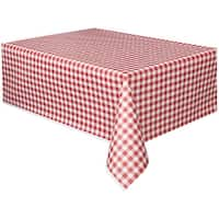 """Red - Gingham Printed Tablecover 54""""X108"""""""