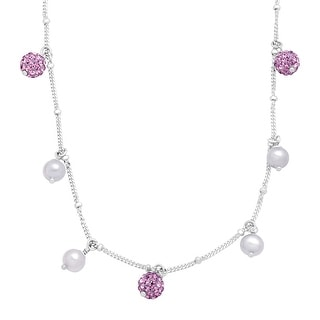 Crystaluxe Girl's Lilac Freshwater Pearl Necklace with Purple Swarovski Crystals in Sterling Silver