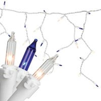 Set of 50 Blue and Clear Mini Window Curtain Icicle Christmas Lights - White Wire