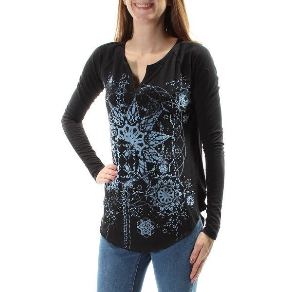 495704bdb08 Shop LUCKY BRAND  40 Womens New 1401 Black Printed Velvet Long Sleeve Top  XS B+B - On Sale - Free Shipping On Orders Over  45 - Overstock.com -  21266150