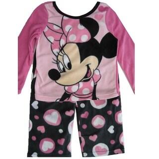 Disney Girls Pink Black Minnie Mouse Heart 2 Pc Pajama Set 8-10