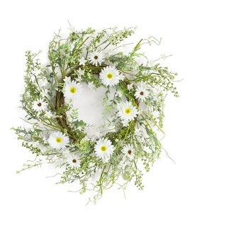 """Pack of 2 White and Green Springtime Artificial Gerbera Daisy Wreath 22"""""""
