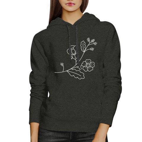 Flower Unisex Dark Gray Hoodie Unique Design Gift For Flower Lovers