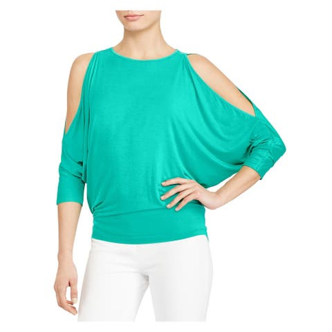 RALPH LAUREN Womens Turquoise Dolman Sleeve Jewel Neck Top Size L