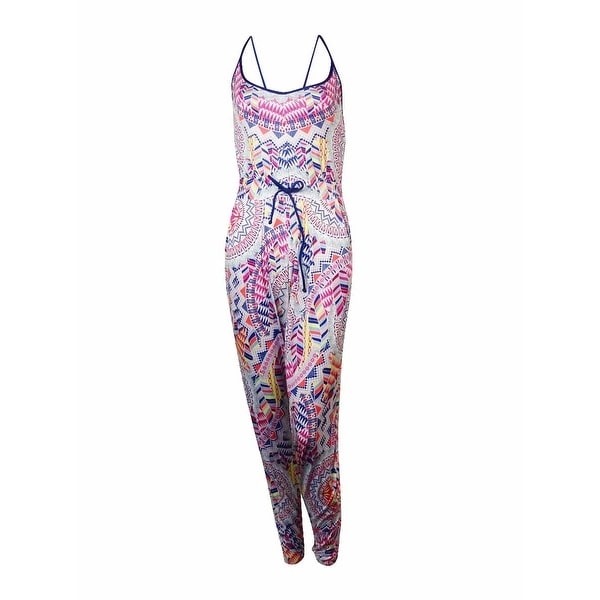Bar III Women's Multi Print Jersey Jumpsuit Swim Cover - Indigo. Opens flyout.