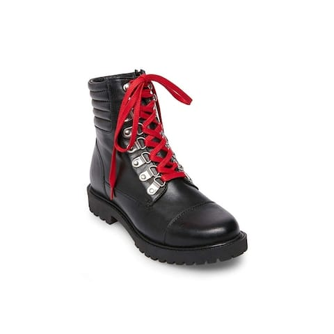 Steve Madden Womens Rosario Leather Closed Toe Mid-Calf Combat Boots