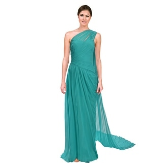 Monique Lhuillier Grecian Asymmetric Chiffon Pleated Gown Dress