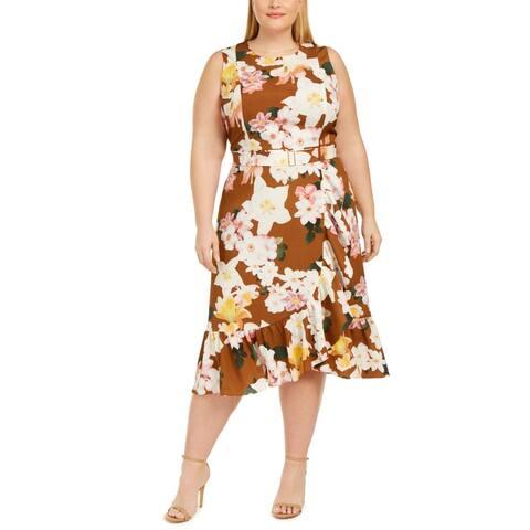 Calvin Klein Womens Plus Midi Dress Chiffon Floral - Tan Multi