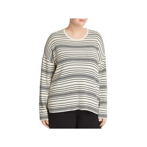 Eileen Fisher Womens Plus Pullover Sweater Striped Long Sleeves