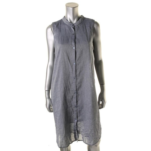 Eileen Fisher Womens Mandrin Shirtdress Denim Sleeveless