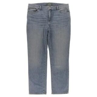 Lauren Jeans Co. Womens Heritage Slim Jeans Slimming Fit Baked Creases