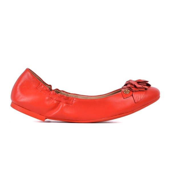 16c1a7e1edeed6 Shop Tory Burch Women s Orange Logo Leather Blossom Ballet Flats ...