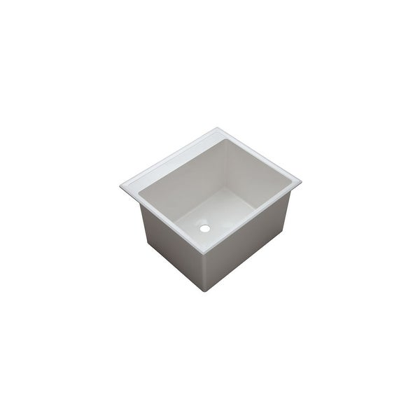 "PROFLO PFLT2522D 24-1/2"" Single Basin Drop-In Composite Laundry Sink - White - N/A"