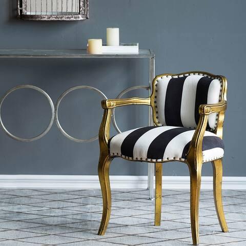 A&B Home Black and White Stripe Arm Chair