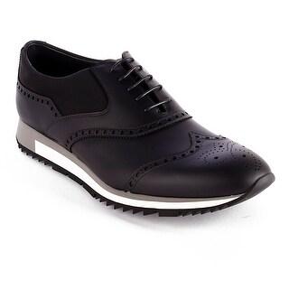 Prada Men's Smooth Leather Derby Sneaker Shoes Black
