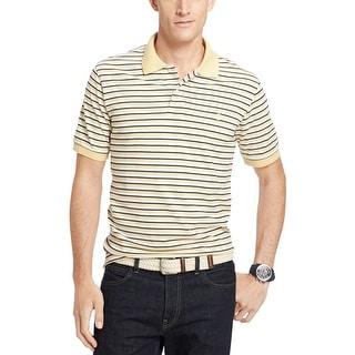 Izod Feeder Yellow Blue and White Striped Short Sleeve Pique Polo Shirt Medium