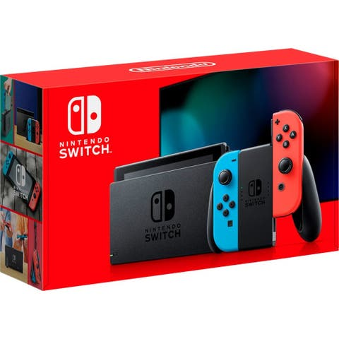 Nintendo Switch with Neon Blue and Red Controllers