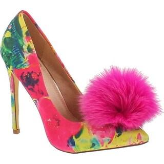 Liliana Affair Velvet Pointy Toe Stiletto High Heel Fur Pom Slip On Pump Slide Shoe