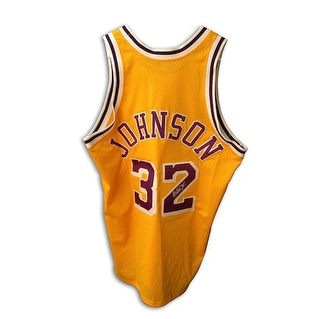 Autographed Magic Johnson Los Angeles Lakers Gold Throwback Jersey