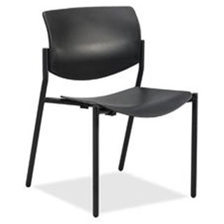 Lorell LLR83113 Stack Chairs with Molded Plastic Seat & Back - Black