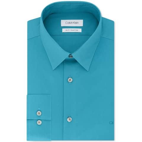 """Calvin Klein Mens Stretch Collar Button Up Dress Shirt, blue, 17.5"""" Neck 36""""-37"""" Sleeve - 17.5"""" Neck 36""""-37"""" Sleeve"""