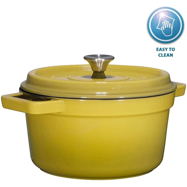 Bruntmor, Enameled Cast Iron Dutch Oven Casserole Dish 6.5 quart Large Loop Handles & Self-Basting Condensation Ridges On Lid. Opens flyout.