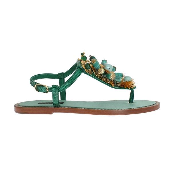 72eac5721c2a Shop Dolce   Gabbana Green Leather Crystal Flip Flops Sandals - Free ...