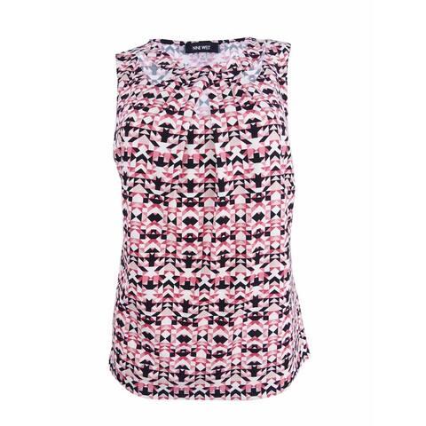 Nine West Women's Plus Size Ikat-Print Cutout Shell Top (1X, Pimento Multi) - Pimento Multi