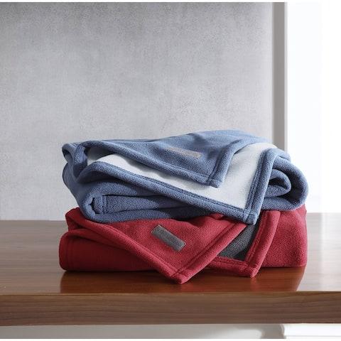 Eddie Bauer Reversible Solid Fleece Throw Blanket
